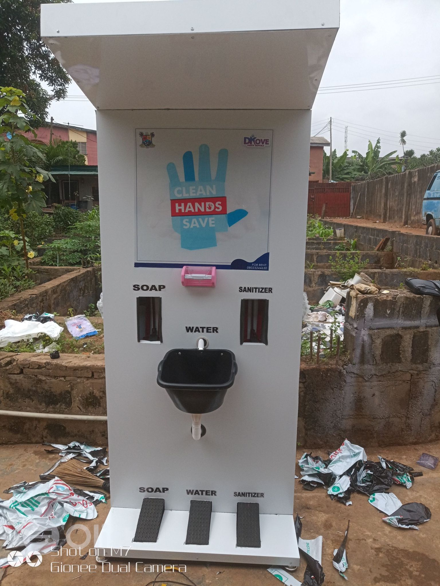FABRICATION AND SALE OF FOOT OPERATED HAND WASH STATION