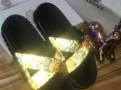 Versace slippers gold and black