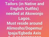 EXPERIENCED MALE TAILORS NEEDED