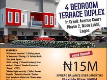 4 Bedroom Terrace Duplex in Creek Avenue Court Phase 2 Ikota, Lekki.